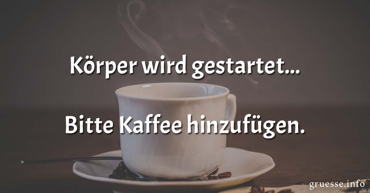 Körper wird gestartet.... Bitte Kaffee hinzufügen.