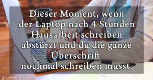 Dieser Moment, wenn der Laptop nach 4 Stunden Hausarbeit schreiben abstürzt und du die ganze Überschrift nochmal schreiben musst.