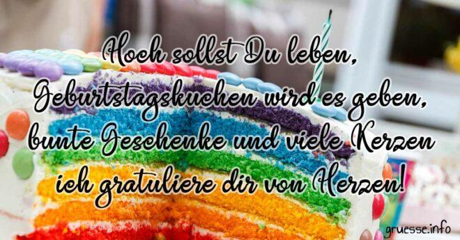 Hoch sollst du leben, Geburtstagskuchen wird es geben, bunte Geschenke und viele Kerzen, ich gratuliere dir von Herzen!