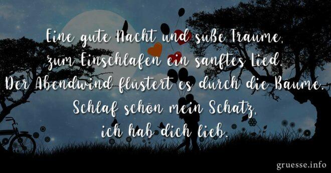 Eine gute Nacht und süße Träume, zum Einschlafen ein sanftes Lied. Der Abendwind flüstert es durch die Bäume. Schlaf schön mein Schatz, ich hab dich lieb.