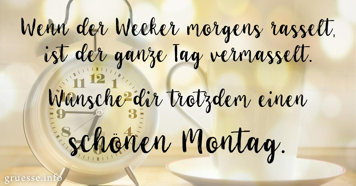 Wenn der Wecker morgens rasselt, ist der ganze Tag vermasselt. Wünsche dir trotzdem einen schönen Montag.