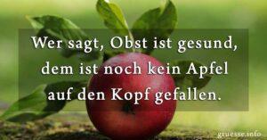 Wer sagt, Obst ist gesund, dem ist noch kein Apfel auf den Kopf gefallen.